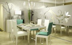 Flower Patern Modern Wall Decor Ideas for Dinning Rooms
