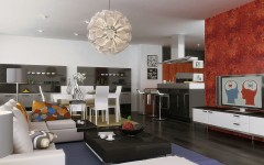 Red Accent Wall Fun Dinning Room Design